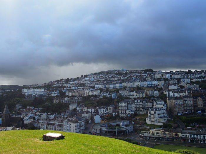Architecture Building Exterior Built Structure City City Life Cityscape Cloud Cloud - Sky Cloudy Day Grass Ilfracombe, Devon. Landscape Mountain Nature No People Outdoors Overcast Residential Building Residential District Residential Structure Sky Town TOWNSCAPE Weather