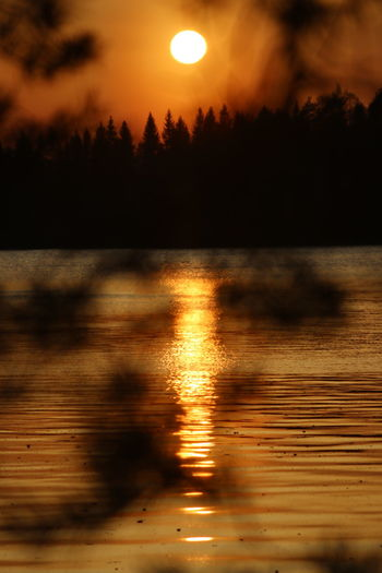 Sky Water Sunset Scenics - Nature Beauty In Nature Tranquility Reflection Tree Lake Cloud - Sky No People Orange Color Silhouette Sun Keuruu Finland