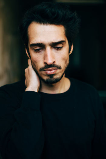 sad and depressed mediterranean men Lonely Refugee Adult Arabic Beard Beautiful People Black Hair Close-up Depressed Depression Depression - Sadness Facial Hair Front View Handsome Headshot Human Face Looking Men Portrait Refugees Sad Sadness Serious Young Adult Young Men