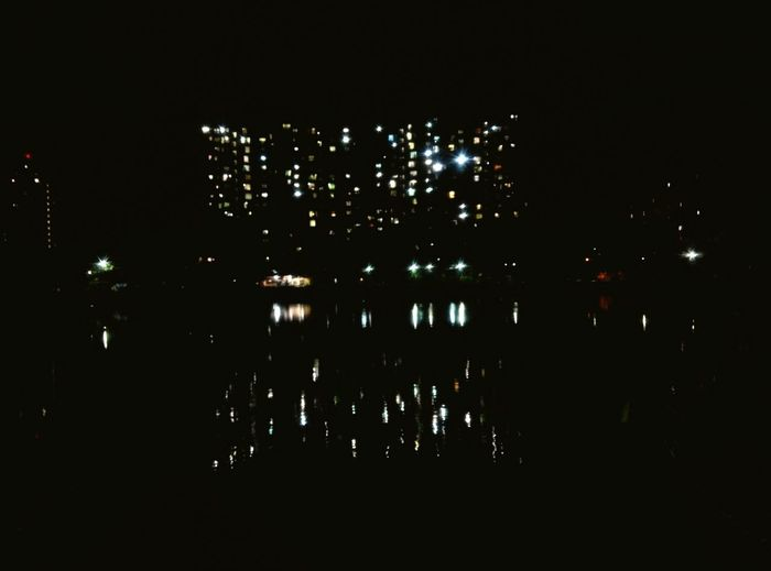 Nite Lights Reflections In The Water Lake Side View Urbanization Nite Photography Urban Lights