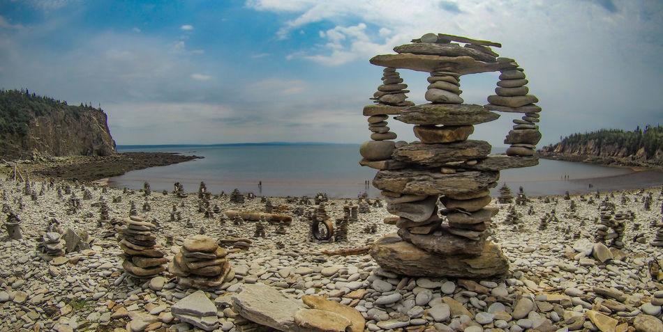 Cap Enragé Inukshuk Inukshuk Stone New Brunswick, Canada Nature Rock - Object Scenics Sea Sky Tranquil Scene Tranquility Water