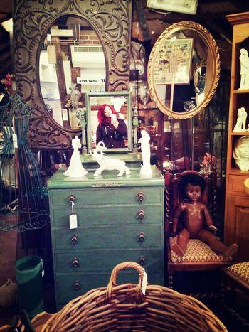 antique shop Antique Mirror Redhead Vintage