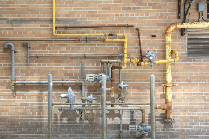 Lines of cooper pipes Brick Wall Lines Pipeline Tube Wall Abstract Copper  Equipment Heating Installation Pipes Structure System Texture Water