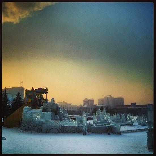 Утро в  УланУдэ  минус36  Бурятия мороз туман снег лед Russia winter
