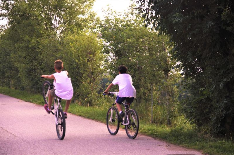 Bicycle Bikes Children Children Playing Day Friendship Full Length Growth Leisure Activity Men Nature Outdoors People Real People Rear View Sky Togetherness Tree Two People Young Adult