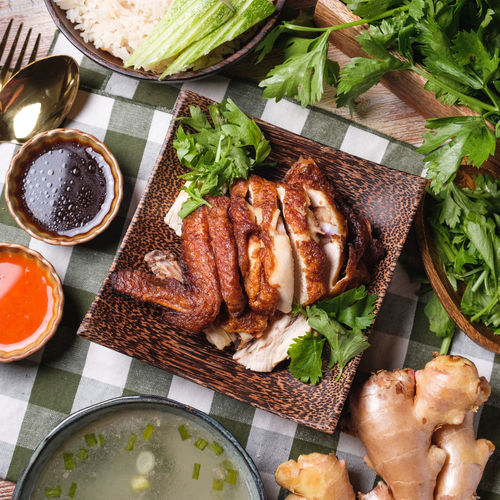 Food And Drink Food Meat Freshness Healthy Eating Ready-to-eat Directly Above No People High Angle View Indoors  Vegetable Barbecue Plate Grilled Wellbeing Roasted Sauce Table Close-up Meal Dinner Tray White Meat Chicken Rice