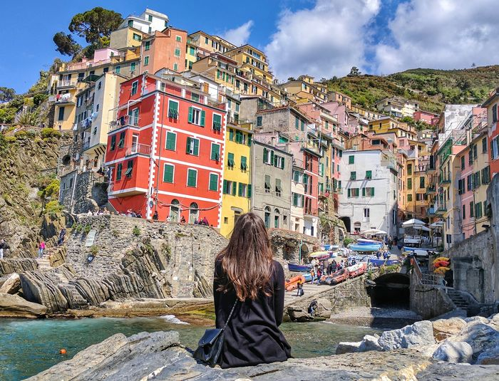 Outdoors Building Exterior Architecture Day Sky People City Adult Adults Only From Back Sun Cinque Terre Cinqueterre Liguria Landscape Sea Cloud - Sky Water Building