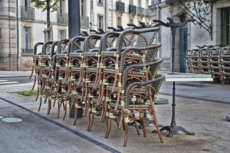 Architecture Bistro Cafe Chairs Chaises City Day Dijon EyeEmNewHere France In A Row No People Outdoors Stacked Stacked Chairs Terrasse