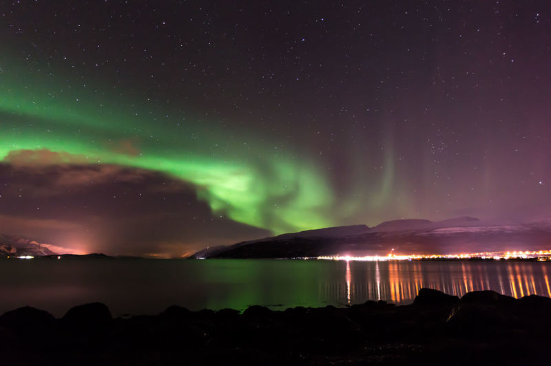 View of aurora borealis during a long cold night in tromso, norway