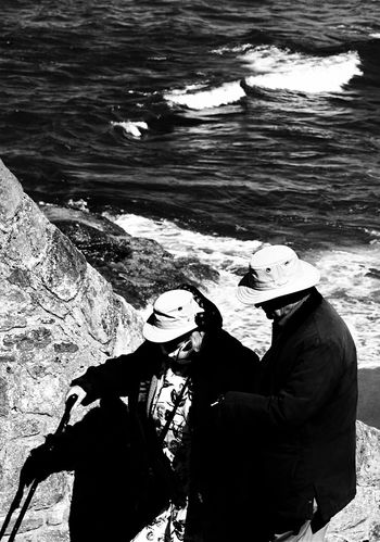 Real People Togetherness Outdoors Love Couple Helping Hand SUPPORT Scotland St Andrews Blackandwhite Capture The Moment Test Of Time The Street Photographer - 2017 EyeEm Awards Second Acts Black And White Friday This Is Aging Focus On The Story The Street Photographer - 2018 EyeEm Awards