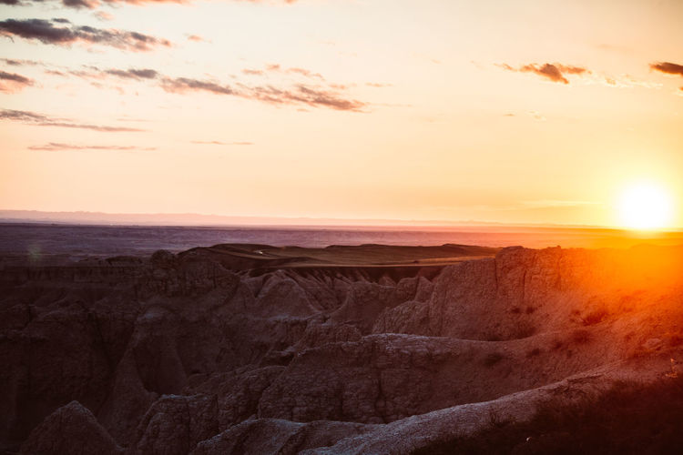 Goodnight, South Dakota Badlands Badlands National Park, South Dakota Sunlight Beauty In Nature Geology Landscape Nature No People Outdoors Scenics Sky Sunset Tranquil Scene Tranquility