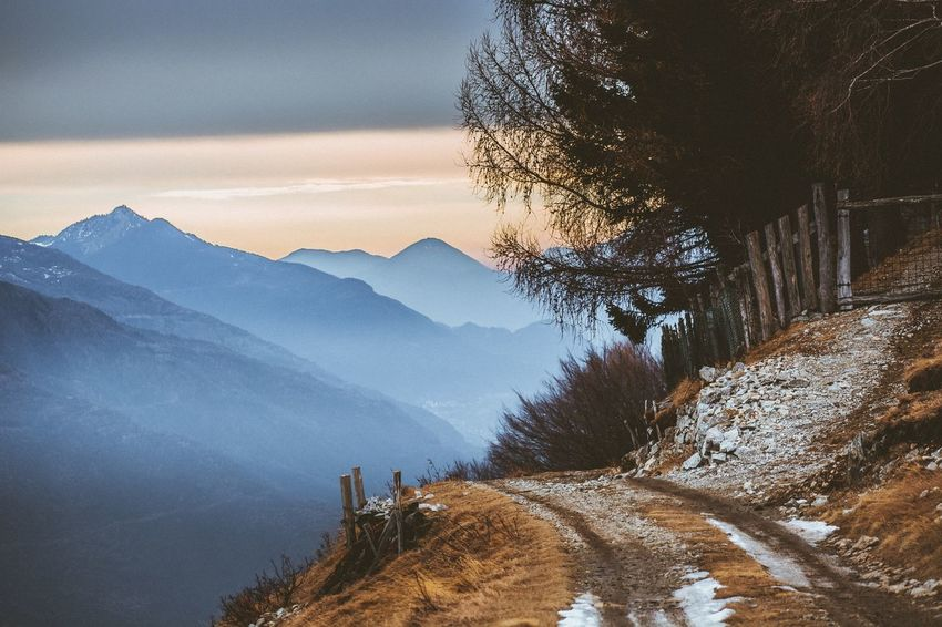 Trail Track Mountain Nature Snow Beauty In Nature Winter Scenics Mountain Range Cold Temperature Tranquility No People Outdoors Tree Tranquil Scene Landscape Day Sky Shades Of Winter Shades Of Winter