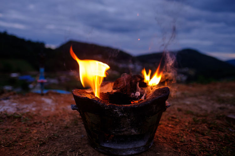 Making fire at