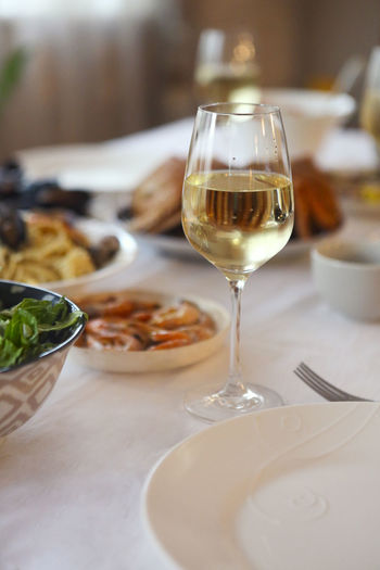 Close-up of wineglass on table in restaurant