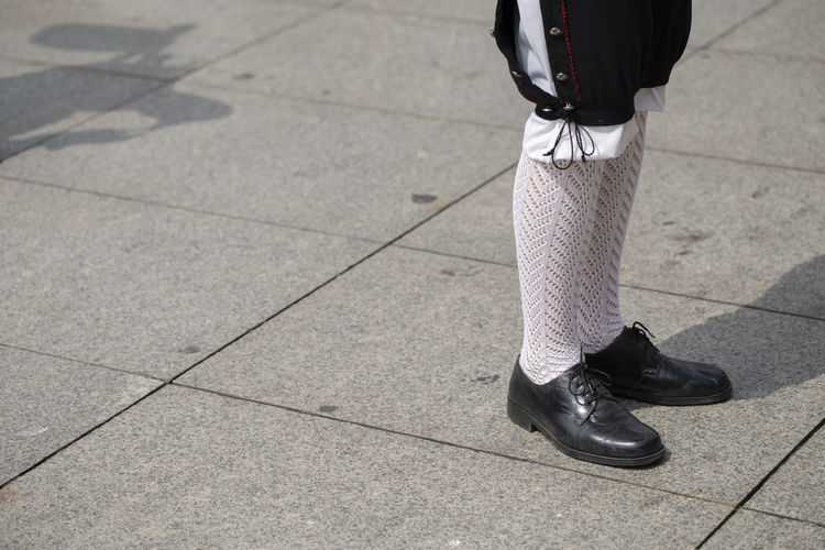Close up of a male traditional clothing Asturias City Holiday Horizontal SPAIN Stockings Traditional Clothing Day Folk Folklore Human Body Part Human Leg Low Section One Person Outdoors Performance Real People Shoe Standing Street Traditional