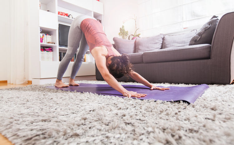 Young woman exercising yoga at home. Meditating Meditation Recreation  Yoga Active Lifestyle  Asana Fit Woman Fitness Healthy Lifestyle Indoors  Leisure Activity Recreational Pursuit Stretching Workout First Eyeem Photo