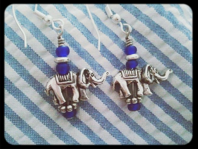 Handmade elephant charm earrings. By Lilac and Lemon available at https://www.etsy.com/shop/LilacAndLemon