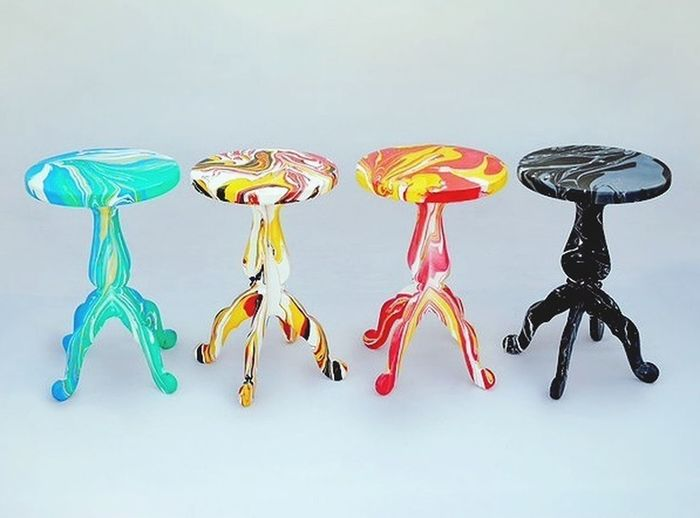 Swirling stools 2012 My Marbling Stool Furniture Interior Design