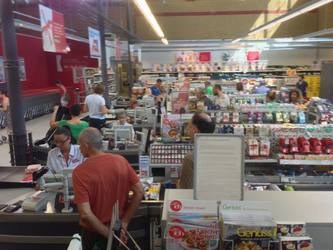 At The Supermarket Paying Shopping