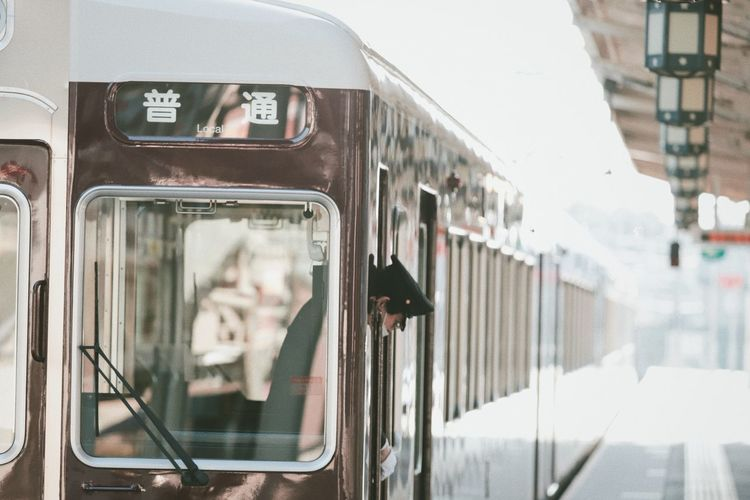 Japan Japanese Style Architecture Day Focus On Foreground Glass - Material Kyoto Land Vehicle Mode Of Transportation Motion No People Passenger Train Public Transportation Rail Transportation Railroad Station Reflection Train Train - Vehicle Transparent Transportation Travel Vehicle Interior Window The Street Photographer - 2018 EyeEm Awards