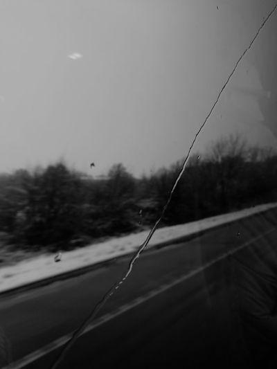 Rain Raindrops Rain Streaked Windows Rain Streak Reflection Treeroad Snow Motion Motion Blur Blur Blackandwhite Outside Tree Clouds And Sky No People Outdoors Transportation Day Sky Nature