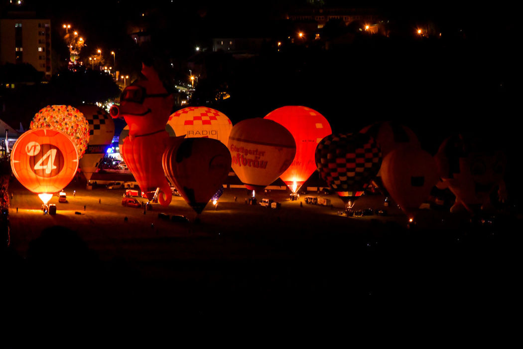 11. International German Cup GermanCup Pforzheim Germany Aerostat Balloon Ballooning Festival Burning Celebration Festival Flame Hot-air Balloon Illuminated Lantern Large Group Of People Night Orange Color Outdoors People Pforzheim Real People Sky Togetherness Traditional Festival