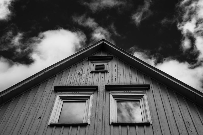 Architecture Cloud - Sky Built Structure Building Exterior Building Sky Low Angle View No People Day Window House Nature Outdoors Wood - Material Residential District Shape Roof Triangle Shape Pattern Corrugated EyeEm Selects Eye4photography  Eye4black&white  Black & White The Week on EyeEm
