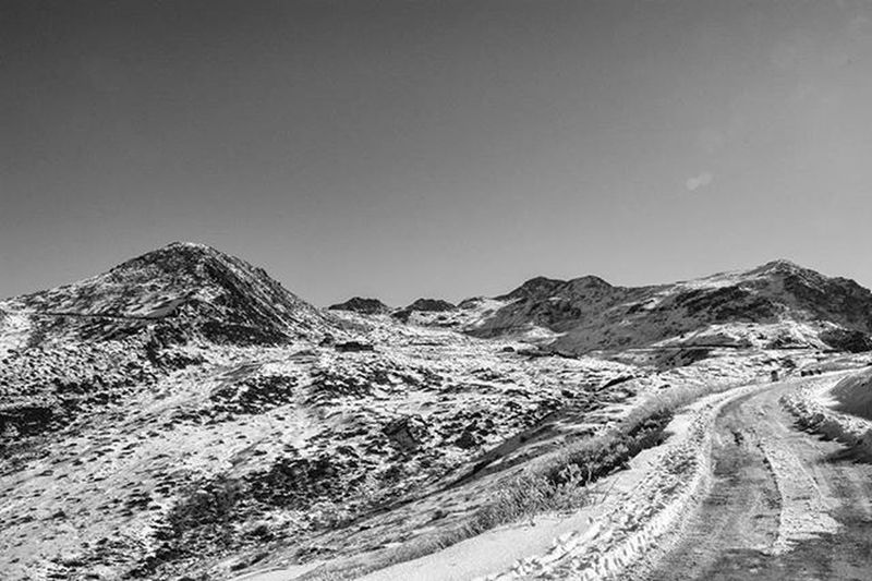 """""""Road To Heaven"""" Gnathang Valley ( 13500ft ) Sikkim 2k16 Gnathang Valley Zuluk Sikkim Sikkimdiaries Snowy Road _soi Storiesofindia Youseemeyouareshot"""