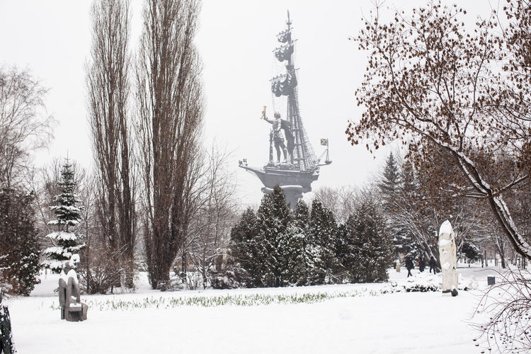 View of statue during winter