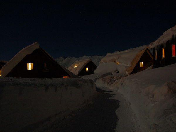 Gudauri,Georgia Winter Snow Way Throw Snow Window Lights Fairy Village