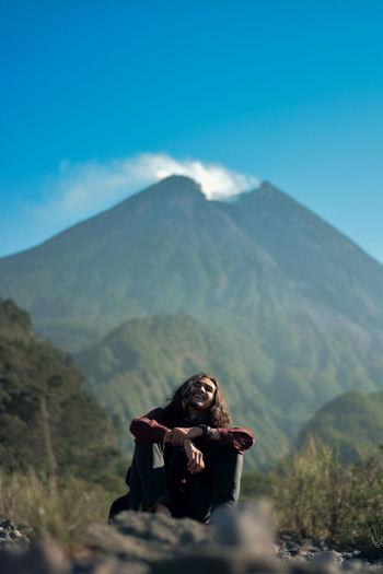 Holiday in kaliadem yogyakarta with view merapi mountain