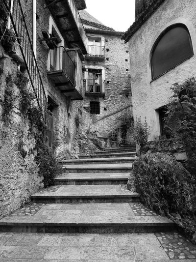 Glimpse of the historic center with steps Black & White Italia Old Town South Italy Architecture Black And White Black And White Photography Building Exterior Built Structure Calabria Glimpse No People Outdoors Staircase Stairs Steps Steps And Staircases The Way Forward Verbicaro