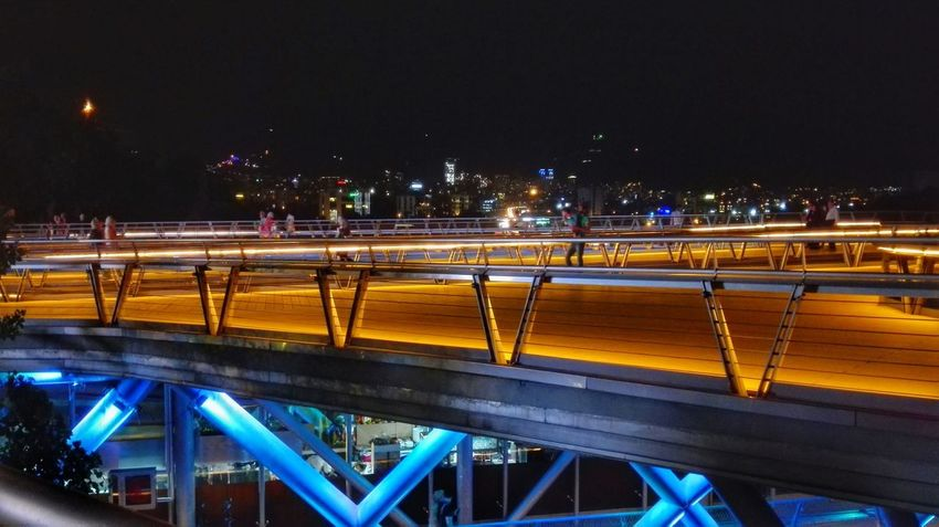 Night Illuminated Traffic City Connection Speed Architecture Street City Street Street Light Built Structure Tehran Iran Bridge