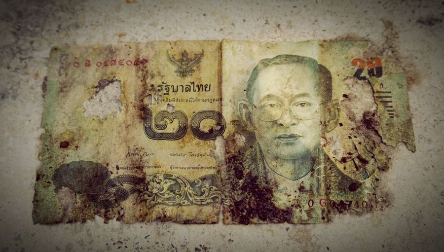 20baht Thai Baht Kingrama9 Money Currency Burned Found Somewhere Damaged Exchange