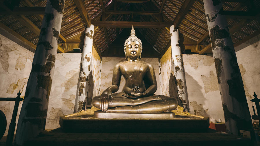 Buddha statue in temple outside building