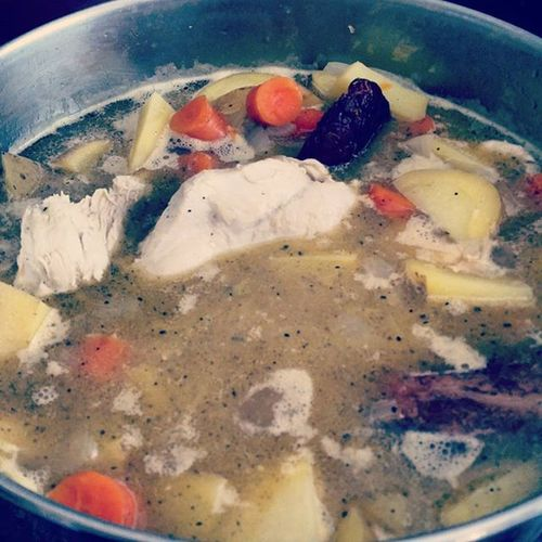 Vegetarians need not apply. Organic sweet onions, organic yellow potatoes, organic carrots. Cowboy cut bacon (no nitrates) and some bacon fat, organic chicken, garlic and organic butter. I'll throw kale in later. Organic Sickfood Nocannedsoupforme