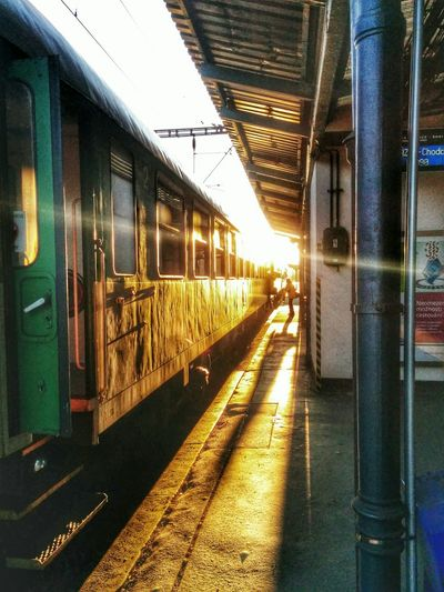 Train Station Enjoying The Sun Sunset