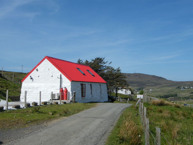 Architecture Building Exterior Built Structure Croft Day Field Glendale Grass House Isle Of Skye Nature No People Outdoors Red Roof Red Roof And Blue Sky Scotland Sky Tree