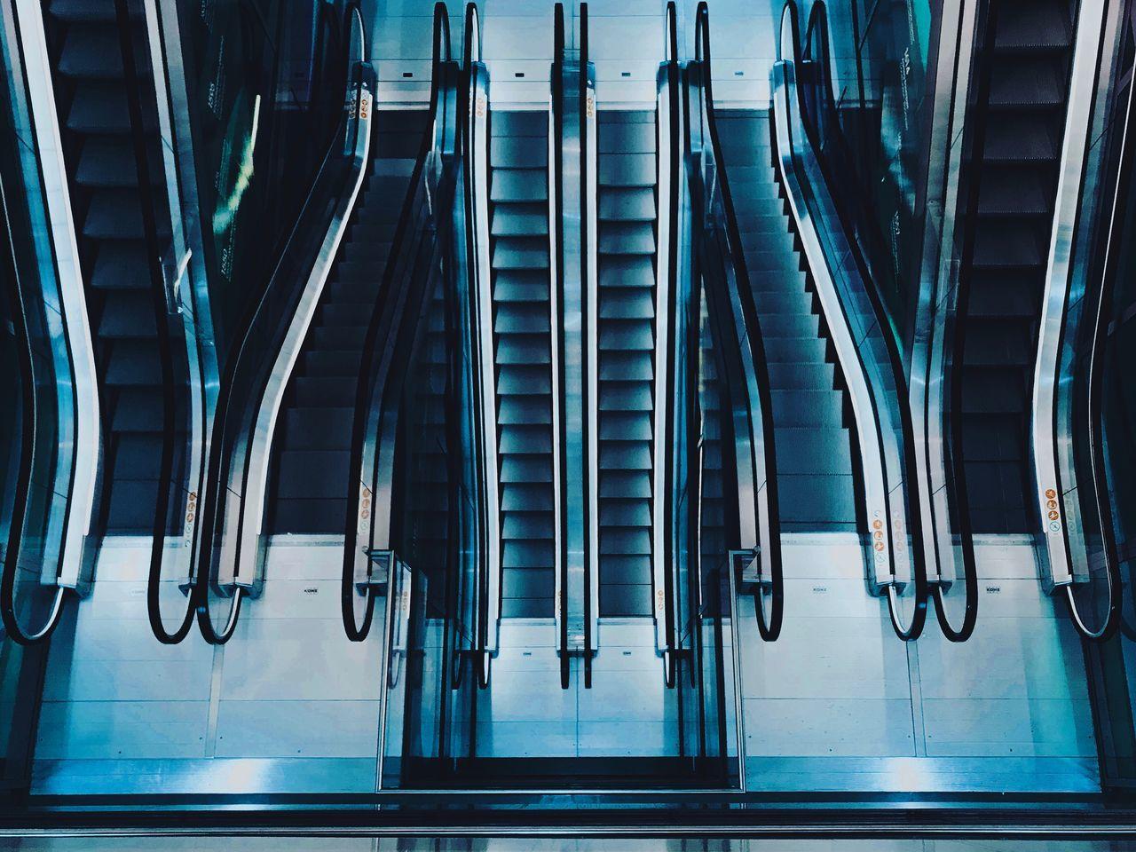 High Angle View Of Escalators