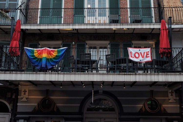 LOVE Architecture Flag Built Structure Building Exterior City Patriotism Love Is Love Building Hanging Street Outdoors Day
