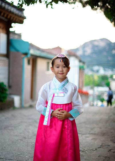 girl in hanbok Korea Seoul Traditional Clothing Child Cute Girl Gyoza Hanbok Korean Culture Sunset