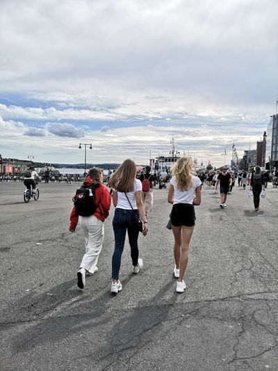 Oslo Norway Cityscape City Life Crowd Beach Sand Sea Full Length Walking Sky Horizon Over Water Mixed Age Range Large Group Of People