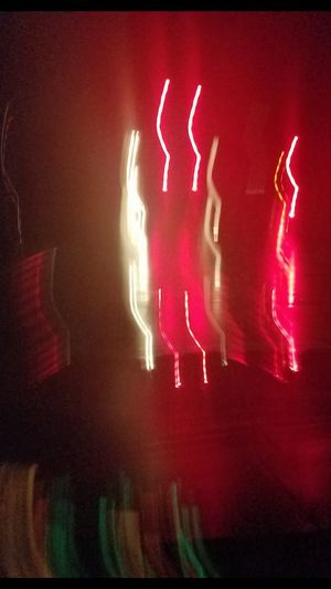 Accidental Photo Red Illuminated Neon Night City Streets  Wet