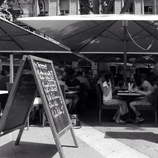 Outdoor Restaurant Black And White Creative Light And Shadow Avignon France Tourists Menu