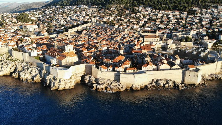 Croatia Dubrovnik Rooftop House Old Town Drone View Europe Built Structure Building Exterior Architecture Heritage Adriatic Sea Tower Town Crowded Travel Travel Destinations Travel Photography Seascape Ocean Beautiful Place Medieval Mediterranean  High Angle View Waterfront