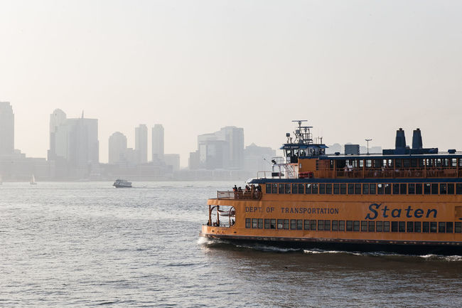 Ferry on the way to Staten Island. Cityscape Ferry Nautical Vessel New York New York City Orange Staten Island Staten Island Ferry Transportation Waterfront