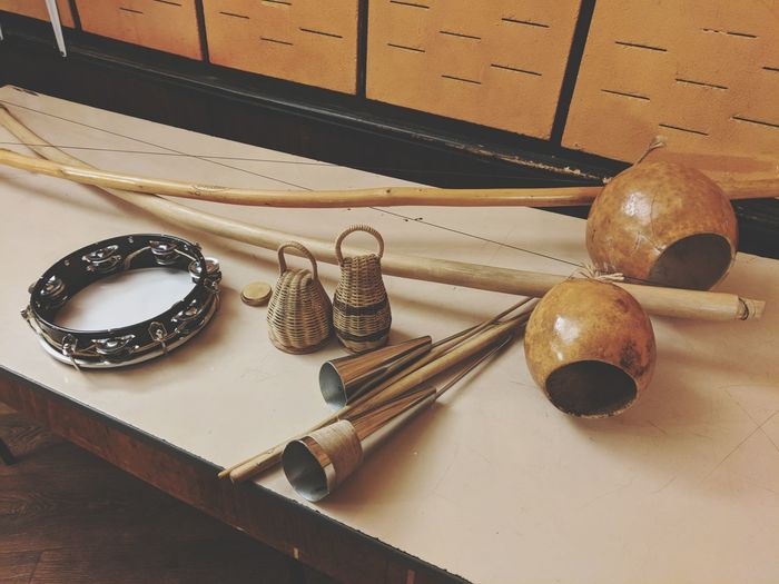 High Angle View Of Musical Instruments Of Table