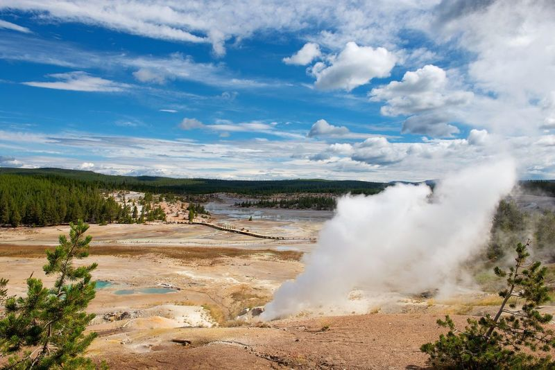 Yellowstone National Park Nature Beauty In Nature Sky Water Geyser Scenics Spring Power In Nature Landscape Steam Hot Spring Tranquility Motion Panorama Basin Montana Thermal Landscape_Collection Norris Geyser Basin Norris Yellowstone National Park National Park