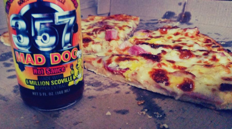 Pizza Hot Sauce Mad Dog Closeup