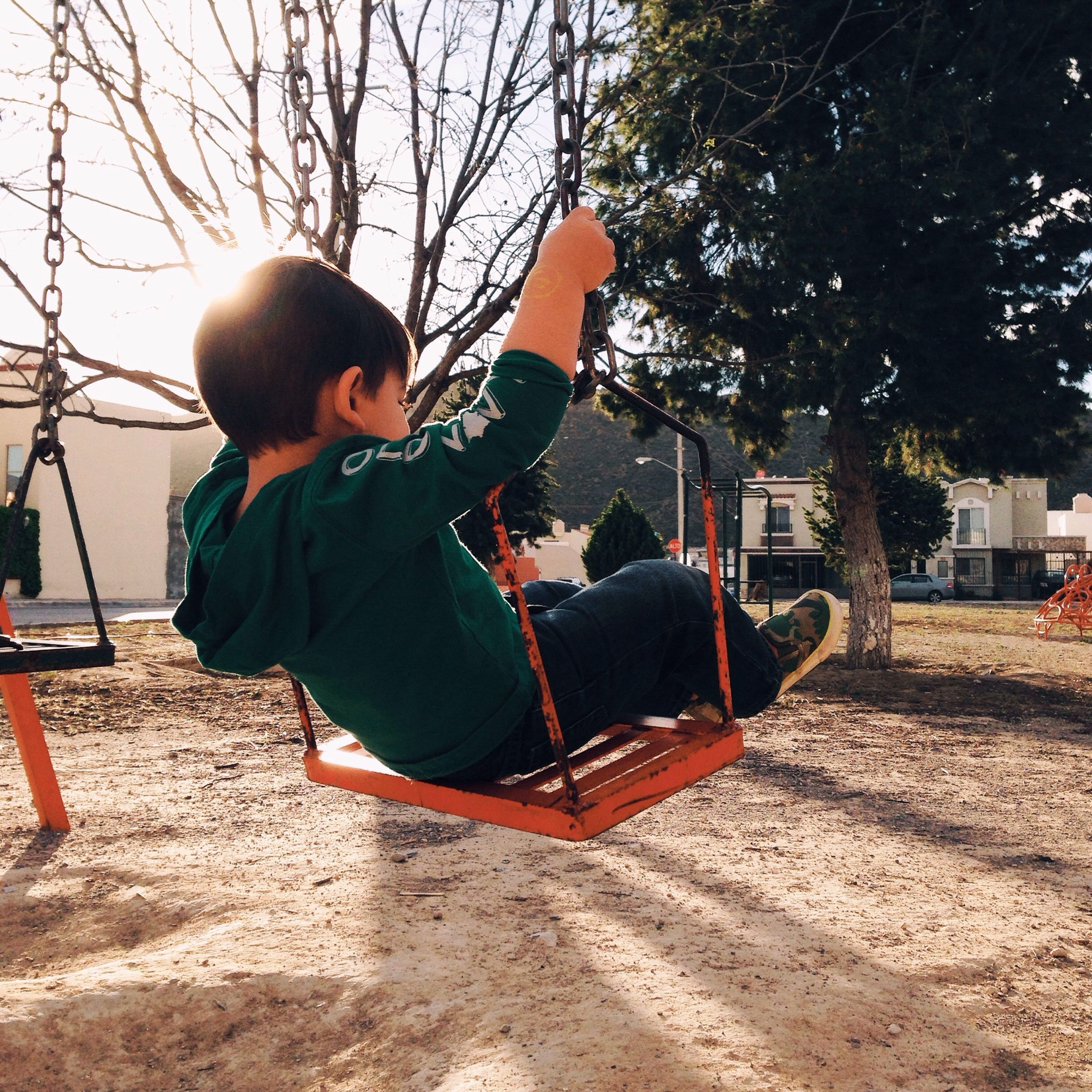 childhood, leisure activity, lifestyles, tree, full length, casual clothing, boys, swing, playground, playing, elementary age, sitting, girls, person, holding, rear view, day, outdoors